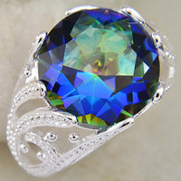 Wholesale Christmas Day Supply Mass NATURAL Stone Marvelous Mystic Topaz Vintage sterling Silver Rings CR0061