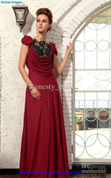 Wholesale Charming Black Lace Burgundy Evening Dresses Bateau Floor Length Sequin Crystal Ruffle Taffeta