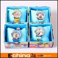 Wholesale Despicable Me Frozen Spiderman Hello Kitty Ben Dora Angry Bird Cartoon Watches Wristwatch box Child Christmas Gift