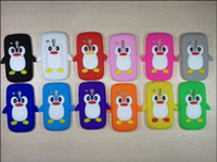 For Samsung Silicone For Christmas 3D Cute Penguin Soft Rubber Silicone Case Cover Skin For Samsung Galaxy S3 Mini i8190 fast shipping 100pcs