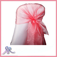 Wedding Chair 100% Polyester plain dyed 100pieces\lot organza wedding chair cover\chair sash hood