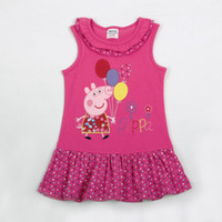Wholesale Nova kids summer clothing m y baby girls cotton dresses hot Peppa Pig cartoon cotton sleeveless casual dress for spring autumn