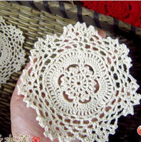 Bamboo doilies - Christmas Halloween cotton LACE hand made Crochet doilies cup mat Natural color Round Doily CM