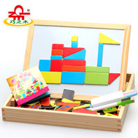 Wholesale Wood magnetic double faced oppssed child puzzle blocks three dimensional puzzle wool blocks