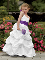 Ruffle Taffeta Floor-Length 2014 White Flower Girls' Dresses Taffeta Ruffled Purple Sash A-Line Formal Dresses Girls' Pageant Gowns Junior Bridesmaid Dresses Cheap Cute
