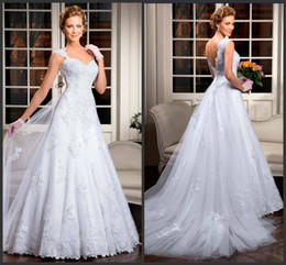 vestido de noiva vestidos 2019 beautiful bride a-line cap sleeves lace sweetheart wedding dresses with button Bridal Gowns Plus Size 105-10