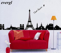 Wholesale DIY Eiffel Tower Home Wall Sticker Mural Paris Room Decor Art Vinyl Decal Black