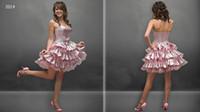 Cheap Hot Selling A-line Pink Short Ruffled Taffeta Strapless Russia Corset Prom Dresses