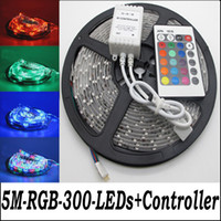 Wholesale 5 Sets a m roll SMD RGB Waterproof LED flexible degrees led light strip key IR Remote A EU DC V power supply