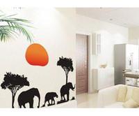 Peel & Stick african wall decor - African Elephants Trees Wall Art Decals Animal Sticker Decor Decals Vinyl