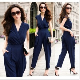 Wholesale Sexy Deep V Neck Jumpsuit Women Solid Color Brand New Fashion Jumpsuits Street Style Red Navy Black W40