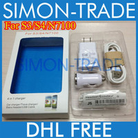 Wholesale Samsung in Charger Kit For S3 S4 N7100 Note A EU US Wall Charger Mini Car Charger Earphone With Mic Volume Control V8 Micro USB Cable