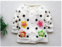 Wholesale Retail Hot Sweet flower girls long sleeved coat contracted girls coat children clothing baby clothes