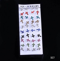 Wholesale Brand New SC7 Box pairs Colorful Crystal Cross Sterling Silver Earrings Ear Studs with Rubber Back Stooper