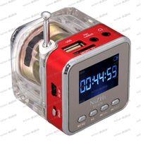 Revisiones Portable speaker for mp3 player-LLFA2624 colores Digital portátil Mini altavoz música MP3/4 jugador Micro SD/TF USB disco altavoz FM Radio LCD pantalla gratis envío