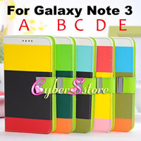 Leather For Samsung  Luxury Contrast Color 3 Colour Wallet PU Leather Case Cover With Credit Card Slot Pouch Stand For Samsung Galaxy Note 3 N9000 III Note 3