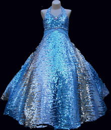 Royal blue Latinos Ball Gown Girls Pageant Dresses Sequin Beads Halter Floor Length Girls Pageant toddler Dresses kids ball gowns prom