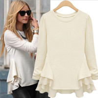 Wholesale 2014 New Arrival Women s Long Puff Sleeves Round Neck Pullover Asymmetric Ruffles Fashion Blouses Baseshirts