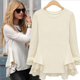 Wholesale New Arrival Women s Long Puff Sleeves Round Neck Pullover Asymmetric Ruffles Fashion Autumn Blouses Baseshirts