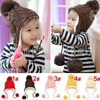 Wholesale Baby Winter Warm Beanie Hat Earflap Fur Cap Ski Hats Children Headwear Y p l