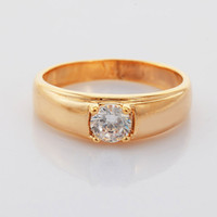 Solitaire Ring Bohemian Women's Exquisite Rings 18K Real Yellow Gold Plated 4 Prong 5MM 1ct Sparkle Zircon Diamond Jewelry For Women Men With Gift Box R105