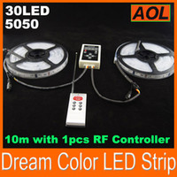 Wholesale 5050 LED waterproof tube digital RGB dream color magic Led Strip Light Ribbons Chasing IC m set with RF Controller DHL