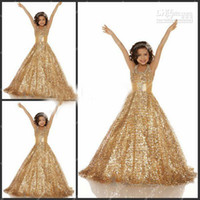 Wholesale Toprated Princess Fall New Arrival A Line Girls Pageant Dresses With Jewel Gold Glitz Ruffled Beaded Sequins Lace