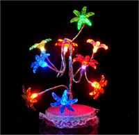Colored Bulbs   Christmas gifts Creative multivariant style glow crystal flower tree, USB light night light seven lights change color fiber optic tree