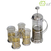 Wholesale Classic french press coffee pot french coffee pot stainless steel five pieces set tea maker