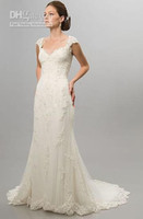 Cheap Wholesale - Cap Sleeve White Ivory Lace Wedding Dresses Bridal Gowns Two Piece layers Stretch Real Actual Images
