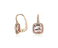 Wholesale Cushion Cut k Rose Solid Gold Ct Natural Diamond Morganite Wedding Setting Drop Earrings Certificate Factory direct XBLE0032