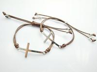 Unisex sideways cross charm - Brown Wax Cord Style Silver Iced Out Sideways Cross Handmade Bracelet Top Seller