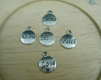 Wholesale 100 Mixed Tibetan Silver Hope Believe Love Faith Jesus Charms Pendants x15 mm a0027