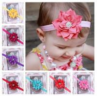 Headbands Cotton,chiffon Floral Mixed 10 Colors Baby Flower Headband Chiffon Children Hairband With Snow Rhinestone Hair Accessories