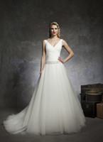 Wholesale Amazing Styles V Neck tulle ball gown Applique Chapel Train Wedding Dresses Bridal dress A line Mermaid Empire Wedding Dresses GA1000