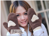 Wholesale Winter Warm Lovely Peach Heart Love Knitted Wool Gloves Full Mittens Gloves Colors For Womens