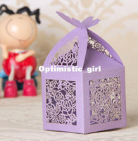 Wholesale Purple Wedding Favor Box Laser Cut Paper Boxes for Candy Chocolate Box Party Supplies Drop Shipping