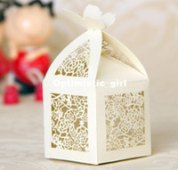 Wholesale Ivory Wedding Favor Box Laser Cut Paper Boxes for Candy Small Gift Box Party Supplies Drop Shipping