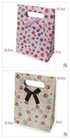 Jewelry Packaging & Display Yes Paper Free Shipping S size New Arrive Romantic Flower Printing Gift Bag Paper Pouch Wedding Party Birthday Festivel Favor Paper bags