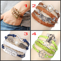 Wholesale Womens Mens Leather Wrap Bracelets Vintage Jesus Peace Wings Believe Clover Butterfly Charms Multilayer Wristbands Bracelet