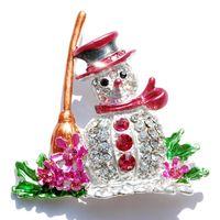 christmas brooch - 8 Colors Snowman Christmas Brooch Pin Colorful Crystal Pin Christmas Gift SD007