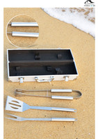 Wholesale lt lt gt gt Piece Stainless Steel BBQ Tool Set With Aluminum Case TLBBQ