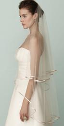 Custom Made Two Layer Ribbon edging white Ivory wedding veil long bridal veils hot sale 2016 new