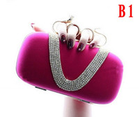 Wholesale Hot Selling Lady s Ring Evening Bags Party Bags with Crystals Fuchsia Royal Blue Black Red High Quality Formal Bags