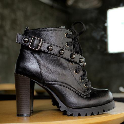 2013 Top PU Women Motorcycle Boots Lace Up Heel Ankle Boots ...