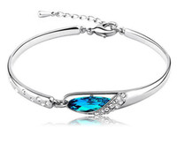 Wholesale New Style Luxurious Blue Diamond Bangle Bracelet Sterling Silver Glass shoes Bracelet High Quality