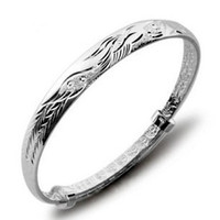 Wholesale Silver Phoenix Bangles Retro Fashion Ethnic Bracelets Bedford Sterling Silver Hand Jewelry Love Bangle Bracelet For Women Freeshipping