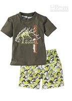 Boy Spring / Autumn  Wholesale - Summer Baby Kids Clothing %100 Pure Cotton Cartoon Dinosaur Short Sleeve T shirt + Beach Shorts Pants 2pcs Boys Casual Set Child