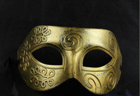 Wholesale factory direct men s Greco Roman Gladiator masquerade retro gold and silver two color optional mask
