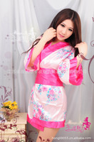 Wholesale HOT Brand New High Quality Women s lingeries Sexy lingerie game uniforms pink flower kimono bathrobe costumes H77